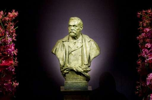 The statue representing Swedish industrialist Alfred Nobel at the Stockholm Concert Hall in Stockholm