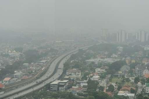 Thick haze covers Kuala Lumpur, on September 29, 2015