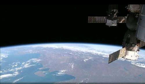 This August 12, 2014 NASA image from video taken by High Definition Earth Viewing experiment aboard the ISS, mounted on the Exte