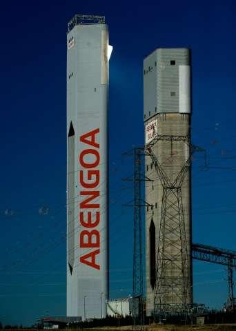 Towers at Abengoa solar power plant in Sanlucar La Mayor