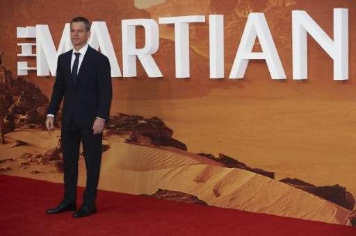 "US actor Matt Damon arrives for the European premiere of ""The Martian"" in London's Leicester square on September 24, 2"