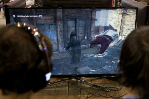 "Videogamers play on an alpha version of French video game developer Ubisoft's last installment of ""Assassin's Creed"","