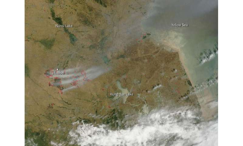Wheat fires outside of Huaibei, China