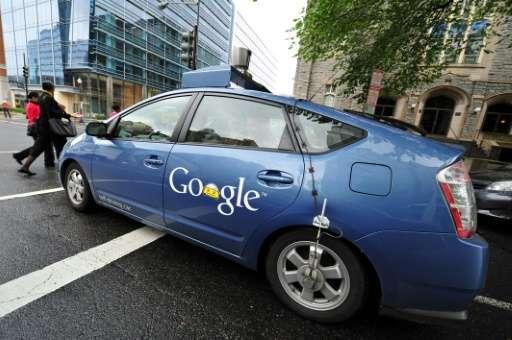 A Google self-driving car maneuvers through Washington, DC
