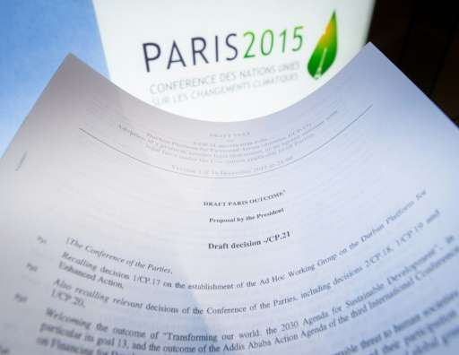 An illustration picture taken on December 10, 2015 in Paris shows a draft for the outcome of the COP21 United Nations conference