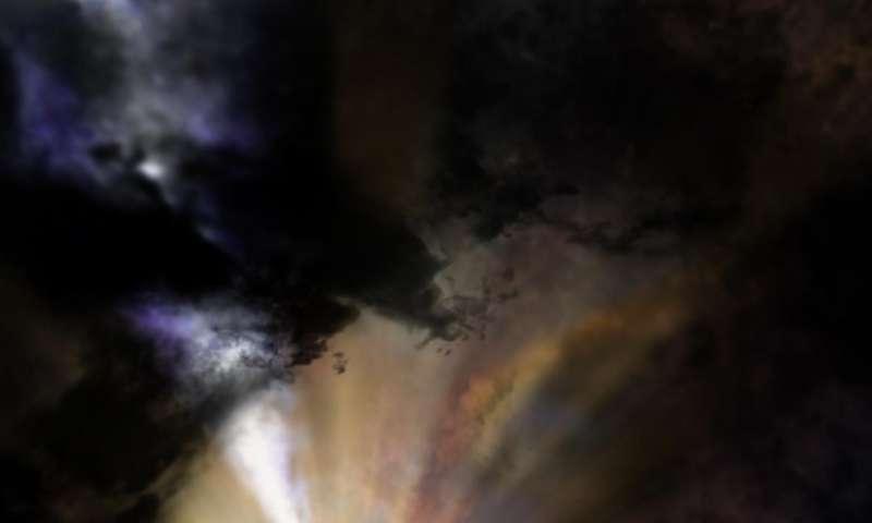 Black hole deluged by cold intergalactic 'rain'