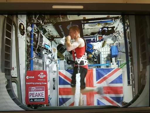 European Space Agency astronaut Tim Peake runs on the International Space Station's treadmill on April 24, 2016