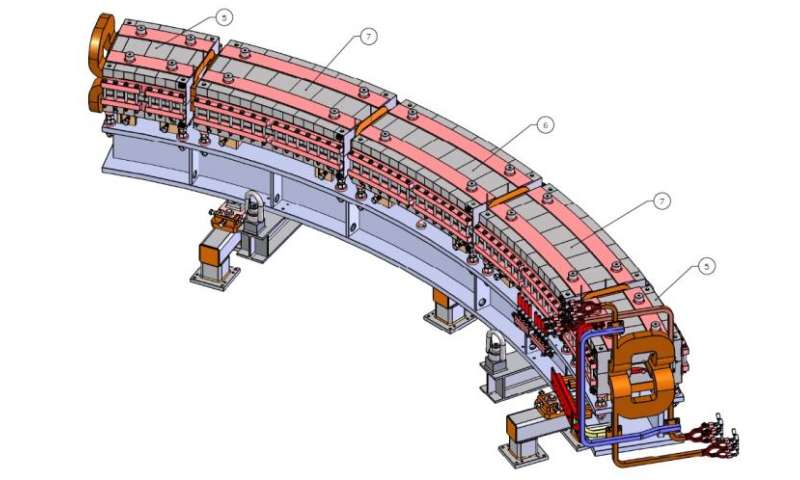 First magnet girder for prototype cancer therapy accelerator arrives for testing