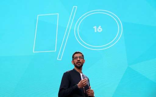 Google CEO Sundar Pichai speaks during Google I/O 2016 on May 19, 2016 in Mountain View, California
