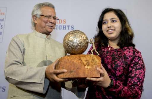 Indian teenage environmental activist Kehkashan Basu receives the International Children's Peace Prize from Nobel Peace Prize Wi