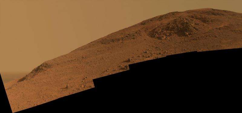 Opportunity Mars rover goes six-wheeling up a ridge