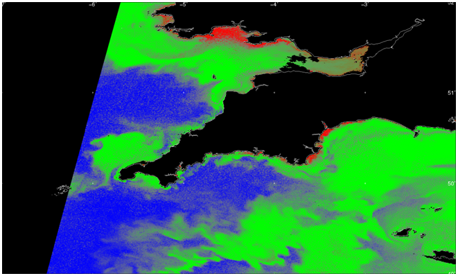 Satellite images show algal blooms swirling in the sea off the Cornish coast