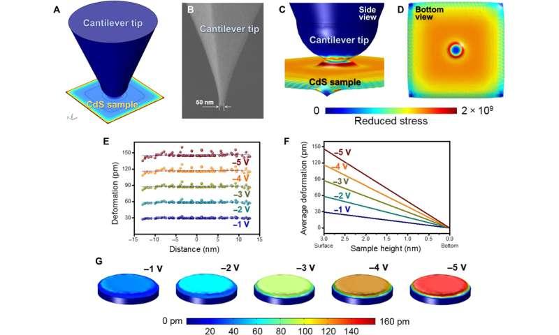 Simulation of vertical piezoelectricity and subatomic deformation actuator