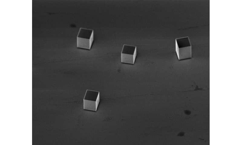 Smashing metallic cubes toughens them up