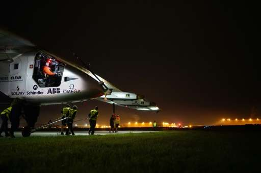 Solar Impulse 2 piloted by Swiss businessman Andre Borschberg, arrived at Dayton International Airport after a 16 hour 34 minute
