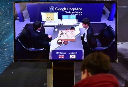 South Korean grandmaster Lee Se-Dol plays against AlphaGo during the Google DeepMind Challenge Match in Seoul on March 9, 2016