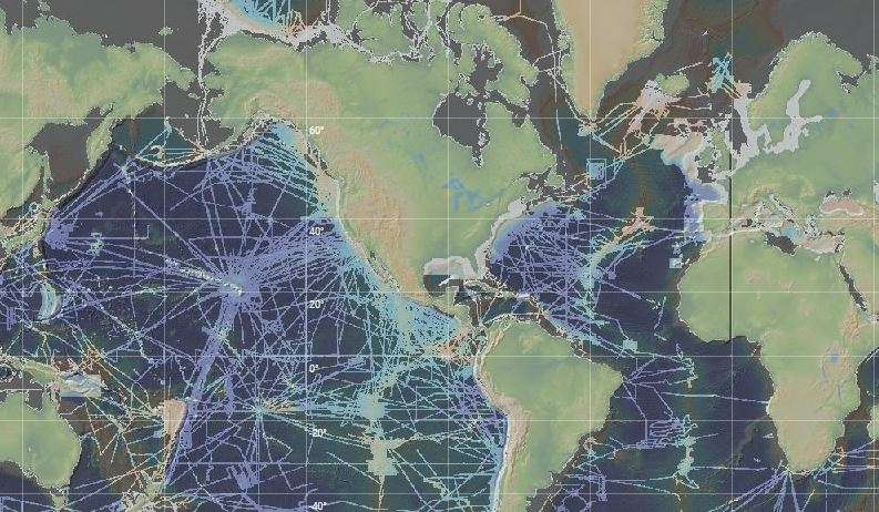 Floor of the ocean comes into better focus a map showing the tracks of research vessels where more detailed imagery of the seafloor is available gumiabroncs Image collections