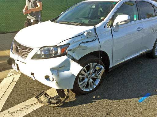 Video shows Google self-driving car hit bus