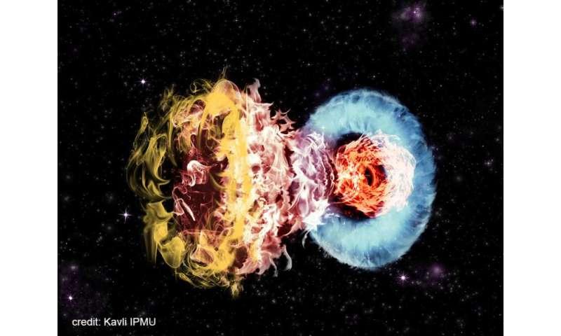 Violent collision of massive supernova with surrounding gas powers superluminous supernovae