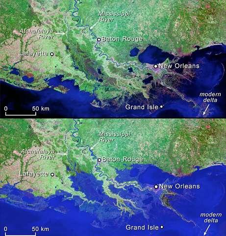 Eruption Masked Acceleration In Sea Level Rise - Louisiana sea level map