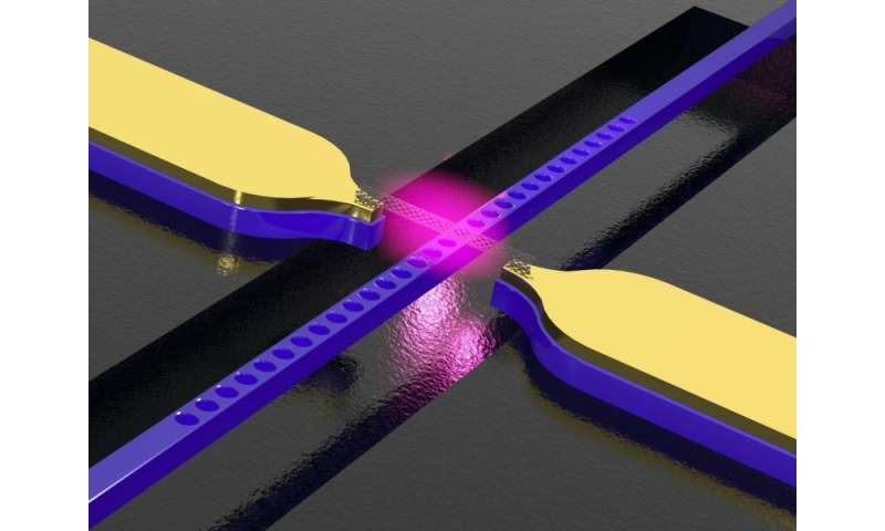 Waveguide with integrated carbon nanotubes for conversion of electric signals into light