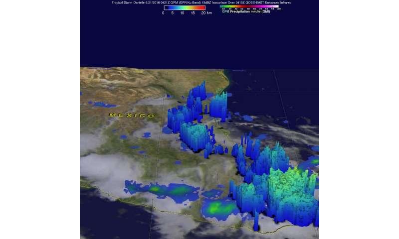 NASA sees Tropical Storm Danielle ending over Mexico