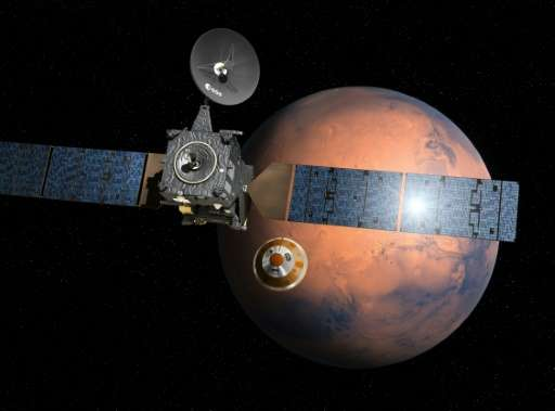 An artist's impression depicting the separation of the ExoMars 2016 entry, descent and landing demonstrator module, named Schiap