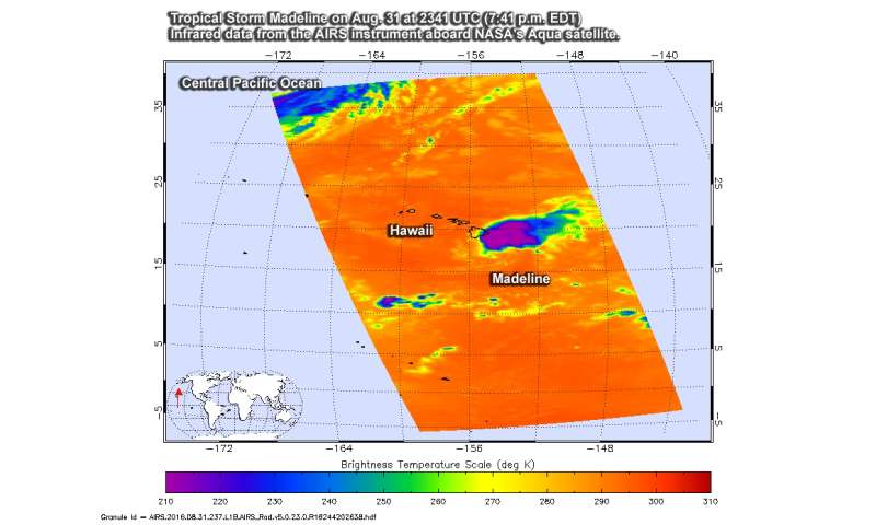 NASA sees a weaker Tropical Storm Madeline passing south of Hawaii's Big Island