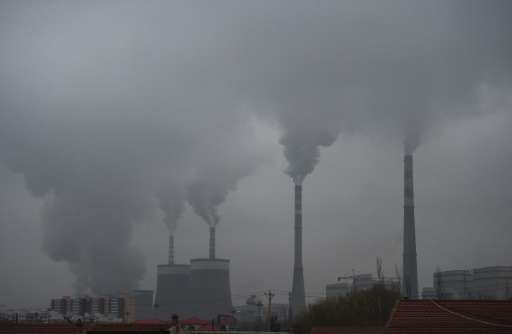 Smoke belches from a coal-fired power station near Datong, in China's northern Shanxi province