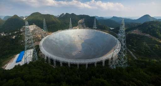 The five-hundred-metre Aperture Spherical Telescope in the China's southwest, which cost 1.2 billion yuan ($180 million) to buil