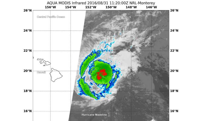 Satellites show Hurricane Madeline weakening upon approach to Hawaii