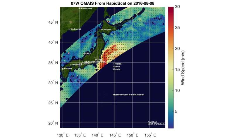 NASA measures winds of Tropical Storm Omais