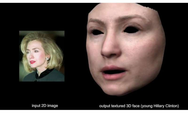 From a 2-D view comes a 3-D face model using deep neural networks