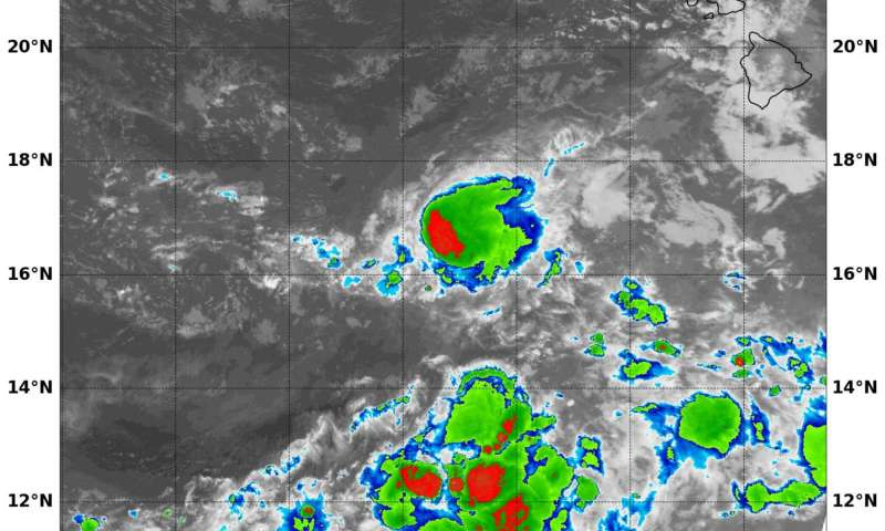 NASA's Terra satellite sees small burst in Tropical Depression Madeline