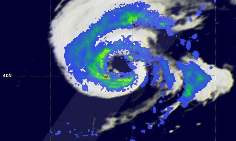NASA's GPM satellite sees Hurricane Nicole moving over cold North Atlantic