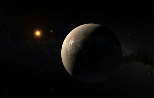 An artist's impression of the planet Proxima b, orbiting the red dwarf star Proxima Centauri, released by the European Southern