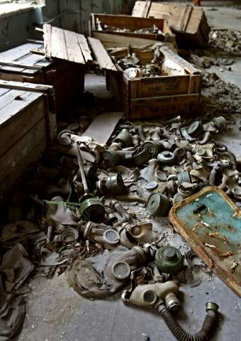Abandoned gas masks lay on the floor in a class room in a school of the deserted town of Prypyat, adjacent to the Chernobyl nucl