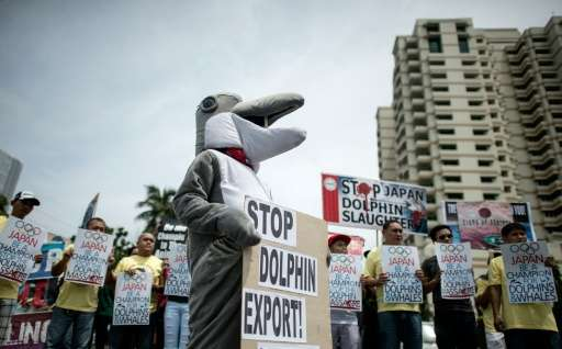 Activists from Earth Island Institute (EII) and the Philippine Animal Welfare Society (PWAS) hold a demonstration in front of th