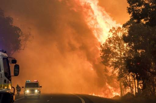 A Department of Fire and Emergency Services photo shows a bushfire burning near Waroona, south of Perth, Australia on January 7,