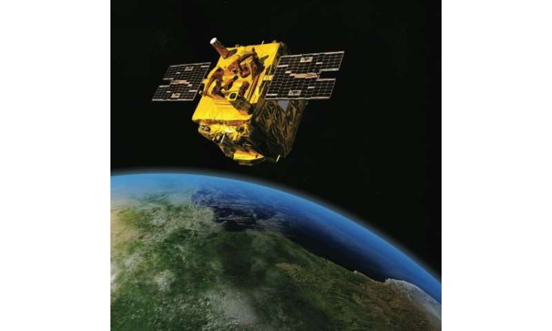 A handout image obtained from the French National CNES on April 15, 2016 shows an artist's impression depicting the French satel