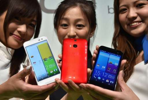 A launch event for the HTC J butterfly HTL23 in Tokyo on August 19, 2014