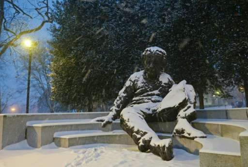 Albert Einstein, a memorial of him seen on January 22, 2016 in Washington, DC, theorized that waves would appear like ripples in