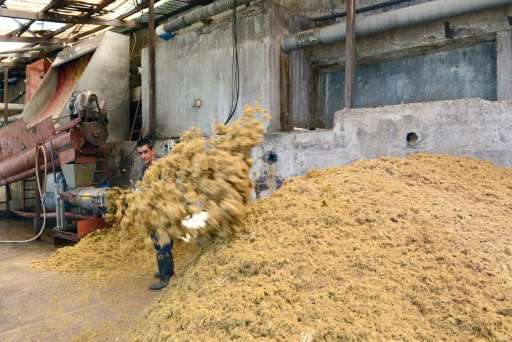 A man processes manure at the El Arreo slaughterhouse in Belen, Costa Rica