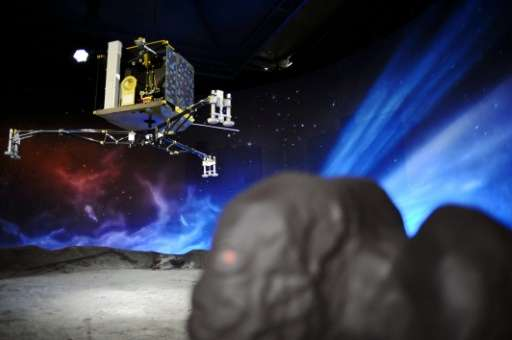 A model of the European Space Agency's robot craft Philae is seen at the Cite de l'espace in Toulouse on November 12, 2014, the