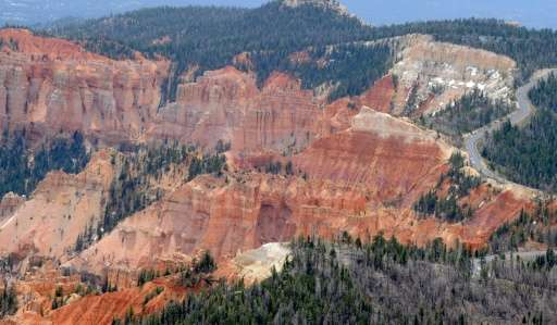 An aerial view of sandstone formations May 2, 2012 in Bryce Canyon National Park, Utah, the U.S. Bureau of Land Management has t