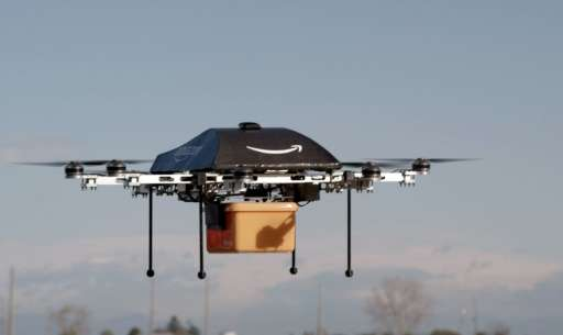 """An Amazon picture of a flying """"octocopter"""" mini-drone that would be used to fly small packages to consumers"""