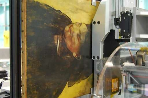 "An Edgar Degas painting ""Portrait of a Woman"" pictured during an imaging scan by a MAIA Detector in Clayton, Australia"