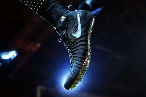 A Nike sports shoe is pictured during an event to unveil their latest  innovative sports products