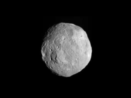 An image obtained by NASA's Dawn spacecraft of the giant asteroid Vesta with its framing camera on July 9, 2011