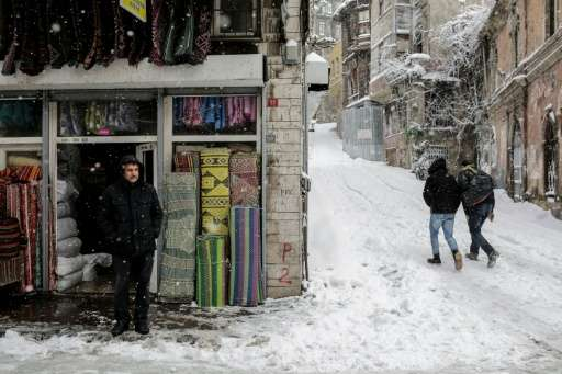 An Istanbul street during the snowfall on December 31, 2015